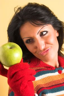 Free Woman With A Green Apple Royalty Free Stock Images - 2003079