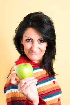 Free Woman With A Green Apple Stock Photography - 2003272