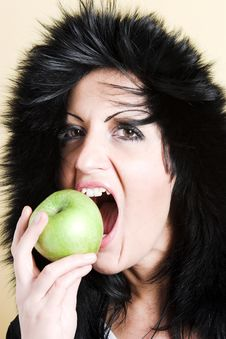 Free Woman With Green Apple Stock Photography - 2003412
