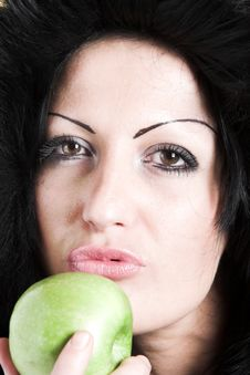 Free Woman With Green Apple Stock Image - 2003471