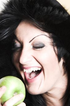 Free Woman With Green Apple Stock Image - 2003531