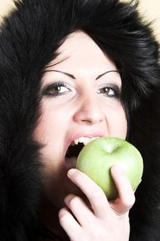 Free Woman With Green Apple Stock Photo - 2003590