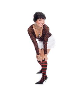 Free Beauty Brunette Girl Dress In Knee Higs On Leg Royalty Free Stock Photography - 2003667