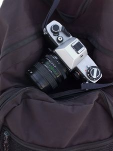 Film-camera On Camera-bag Stock Images