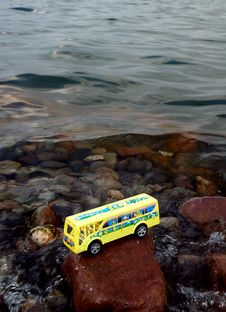 School Bus In Water Royalty Free Stock Photo