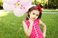 Free Little Girl In The Park With Pink Balloons Stock Photo - 20004130