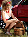 Free Girl On The Picnic With Basket And Wine Stock Image - 20008821