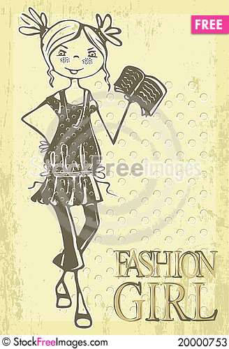 Retro vector fashion girl Cartoon Illustration