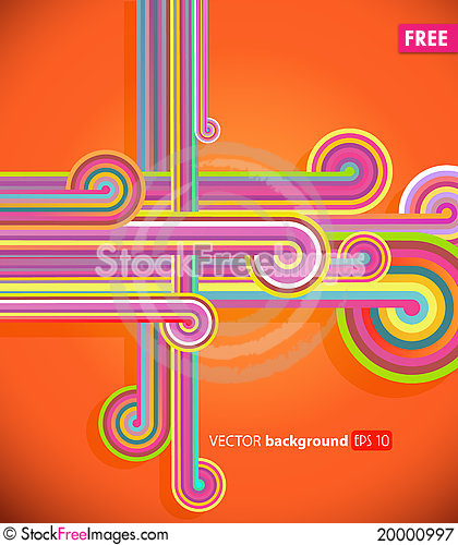 Abstract lines with orange background. Stock Photo