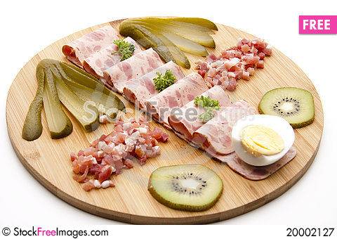Sausage plate Stock Photo