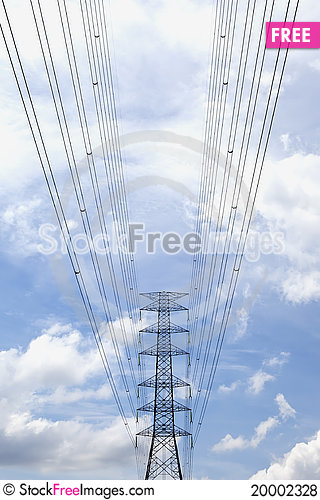 High voltage power pole. Stock Photo