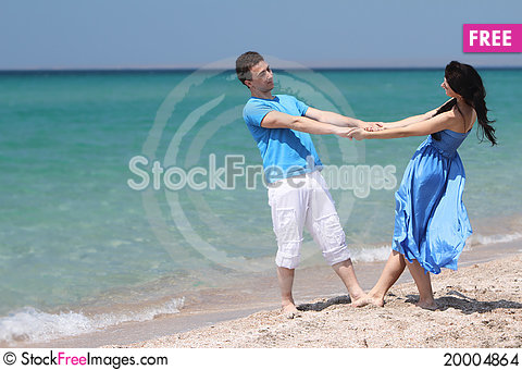 Young couple on natural background Stock Photo