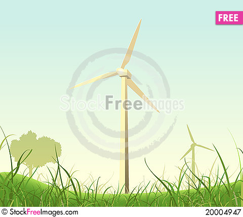 Spring Or Summer Windmills Landscape Stock Photo