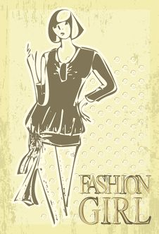 Free Retro Art Young Girl. Vector Fashion Women Stock Photography - 20000762