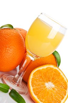Free Orange Juice In Glass And Fruits Stock Photos - 20001583