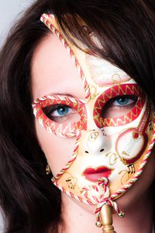 Free Closeup Of Blue Eyed Model With Venetian Carnival Royalty Free Stock Images - 20002249