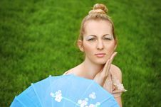 Beautiful Blond Girl With Geisha Make Up Stock Photography