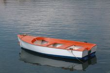 Red, Withe And Blue Boat Stock Photos