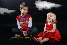 Children Playing A Fairy Tale Stock Images