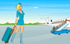 Free Beautiful Stewardess With Suitcase. Royalty Free Stock Images - 20004189