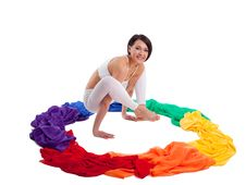 Free Woman Doing Yoga Exercise - Rainbow Color Ring Stock Photo - 20004230