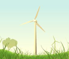 Free Spring Or Summer Windmills Landscape Royalty Free Stock Photography - 20004947