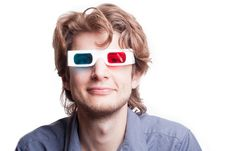 Man In A 3D Stereo Glasses Royalty Free Stock Photography