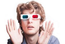 Free Man In A 3D Glasses Stock Images - 20005584