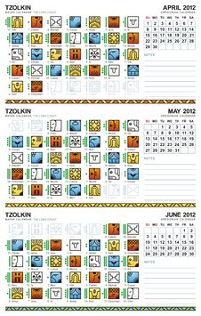 Free Mayan Calendar, April-June 2012 (American) Stock Image - 20005991