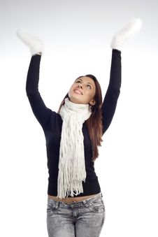 Free Young Woman Lift The Hands Royalty Free Stock Image - 20007676