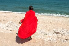 Free Girl In Red Pareo On The Beach Royalty Free Stock Photography - 20007857