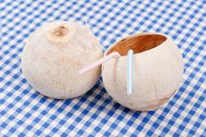 Free Tropical Coconut Drink Cups Royalty Free Stock Image - 20008116