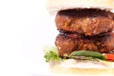 Macro Picture Of Double Beef Burger Stock Photo