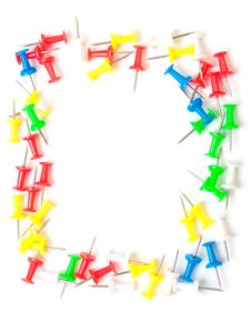 Colored Push Pins Frame Royalty Free Stock Photo