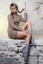 Free Sexy Girl Sitting On Wall Royalty Free Stock Photos - 20010728