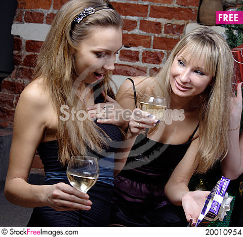 Two gilrs celebrated christmas Stock Photo