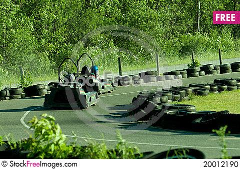 Go-cart track and cars Stock Photo