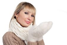 Free Young Woman In Sweater Wollen Mitten Sweater Royalty Free Stock Images - 20010619
