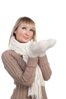 Free Young Woman In Sweater Wollen Mitten Sweater Royalty Free Stock Photo - 20010625