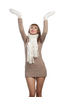 Free Young Woman In Sweater Wollen Mitten Sweater Stock Images - 20010634