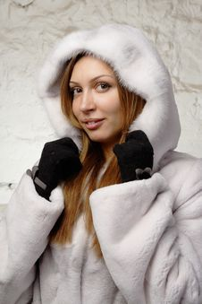Free Stunning Sexy Young Woman In Fur Coat Stock Image - 20010811