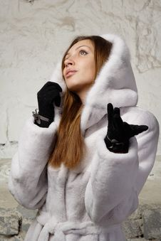 Free Stunning Sexy Young Woman In Fur Coat Royalty Free Stock Image - 20010826