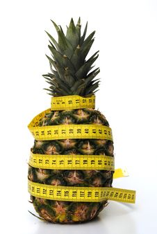 Free Ananas With Tape Rule Royalty Free Stock Photo - 20010875