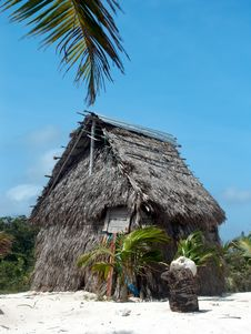 Coconut Palm Leaves Hut. Royalty Free Stock Photos