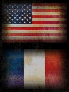 USA And France Flags Royalty Free Stock Photos