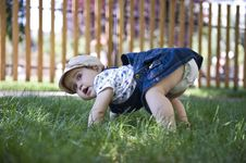 Free Baby Girl Outdoors In The Grass Royalty Free Stock Images - 20013389