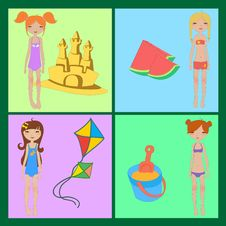 Free Funny Summer Icons Stock Photo - 20013750