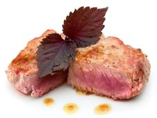 Free Juicy Striped Steak On Wood Table Stock Photos - 20014703