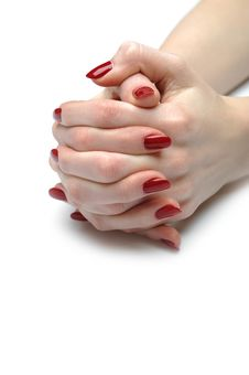 Free Beautiful Hand With Nail Red Manicure Royalty Free Stock Photo - 20014745
