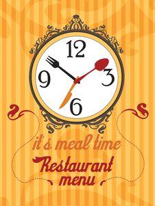 Free Orange Restaurant Menu With Clock Stock Photo - 20014760